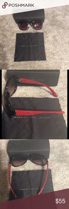 Marc by Marc Jacobs Sunglasses Brown tinted lenses, scaled frame, Havana red arms. Excellent condition. Comes with case. Protection: 100% UVA & UVB Frame Color: Brown Red  Lens Color: Brown GRADIENT  Frame Measurements    EyeBridge  Temple  58mm16mm  125mm Marc by Marc Jacobs Accessories Sunglasses