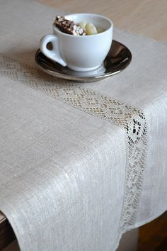 Natural Table Runner Organic Undyed Linen Gray / by LinenLifeIdeas, €26.09