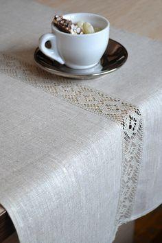 Natural Table Runner Organic Undyed Linen Gray / by LinenLifeIdeas, €26.09