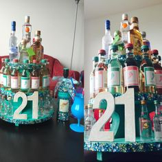Alcohol tower for 21st birthday! #alcohol #tower #21st #21 #birthday