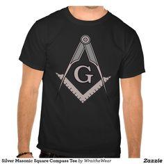 Silver Masonic Square Compass Tee