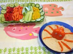 Under the sea (ocean animals) birthday party snacks/food: octopus hummus