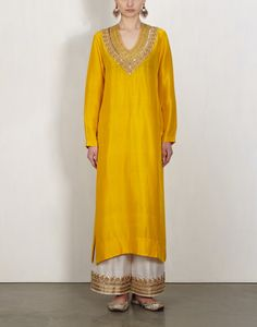 Yellow Zardozi Kurta With Pants-Lajjoo C