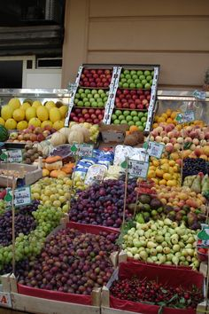 Colorful delicious fruits and vegetables at a local stand