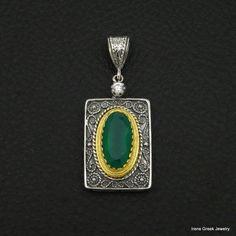 BIG NATURAL GREEN ONYX BYZANTINE 925 STERLING SILVER & 22K GOLD PLATED PENDANT #IreneGreekJewelry #Pendant