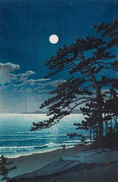 Kawase Hasui (Japanese, Spring Moon at Ninomiya Beach, 1932 Woodblock print; ink and color on paper. Japanese Art Prints, Japanese Painting, Chinese Painting, Wallpaper Natal, Kunsthistorisches Museum, Art Asiatique, Art Japonais, Contemporary Abstract Art, Japan Art