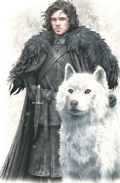 Jon Nieve y Fantasma.