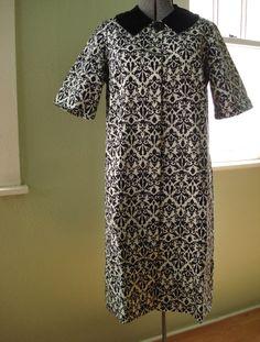 Vintage 1950s Swing Coat Black and White Damask by bycinbyhand, $155.00 #bycinbyhand #cinsfreshpicked #Outerwear  #swingcoat  #rockabilly  #eveningattire  #maternity  #blackandwhite  #damask #1950s #modclothing #joanholloway