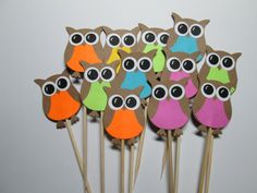 Owl Party Picks / Set Of 24 / Food Picks / Cupcake Toppers / Great For Baby Showers and Birthdays