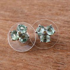 Green Kyanite, Yellow Sapphire Platinum Over Sterling Silver Stud Earrings TGW 1 #Unbranded #Stud