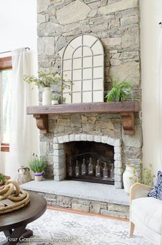 How To Hang A Wood Mantel On Stone Fireplace Using Rebar Before After