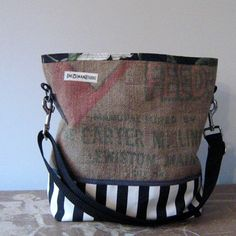 Recycled Burlap and Fabric Bucket Bag : Carter Milling. $65.00, via Etsy.