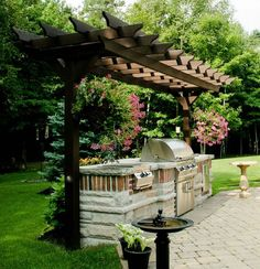 The pergola kits are the easiest and quickest way to build a garden pergola. There are lots of do it yourself pergola kits available to you so that anyone could easily put them together to construct a new structure at their backyard. Outdoor Kitchen Patio, Outdoor Kitchen Countertops, Outdoor Pergola, Backyard Pergola, Outdoor Kitchen Design, Pergola Plans, Outdoor Rooms, Backyard Landscaping, Outdoor Gardens