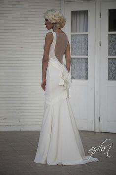 Long Wedding Dress with Train  Ivory Long by ApilatCreativeAtelie, $850.00