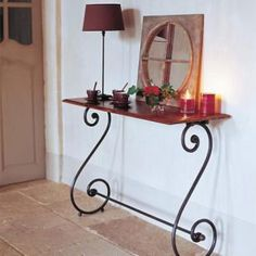 Mix-and-match furniture & decor Wrought Iron Garden Gates, Wrought Iron Beds, Wrought Iron Decor, Iron Furniture, Steel Furniture, Table Furniture, Old Wood Table, Indian Home Interior, Hallway Decorating