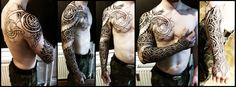 Nordic wyrm and geometry sleeve WiP by Meatshop-Tattoo.deviantart.com on @deviantART