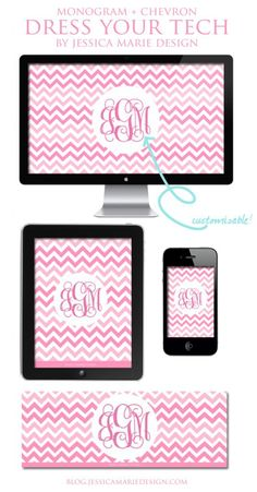 Dress Your Tech: Free Pink Chevron + Monogram Wallpapers