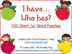 The focus of this set is on CVC words with the letter sound /a/ in the middle.  There is one game each for the Word Families –an/-at, -ad/-am and -ag/–ap.  There are also two decks of assorted short /a/ words and two bonus games of variable words using all five vowels.  Each game has 22 cards.  $