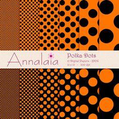 Digital Paper Pack Black and Pumpkin Orange Polka by annalaia2, $3.00