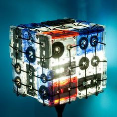 Table lamp made of cassette tapes. Not that I actually have cassettes now. Cassette Tape Crafts, Casette Tapes, Vhs Tapes, Lamp Bases, Floor Lamp, Fun Crafts, My Design, Design Ideas, Lights