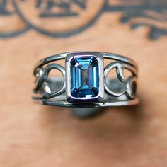 Silver vine ring  London blue topaz ring  emerald by metalicious, $168.00