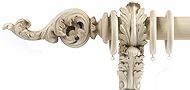 Alison Davies Couture 50/63mm Wood Curtain Pole Linen, Acanthus Leaf Scroll
