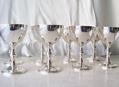 Vintage Wine Chalices Set of 8 Silver Plate Wine by cynthiasattic