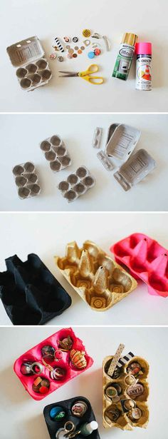 Spray painted egg cartons for jewellery