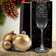 Win christmas this year with the best gift by trying our personalised engraved 210ml crystaline champagne glass. Who wouldn't love a unique gift that can bring so much joy. Choose from a range of unique designs, professionally laser engraved for a long lasting memory. Add the option of a high quality, padded silk lined gift box to save all that wrapping stress. High quality crystaline glass.