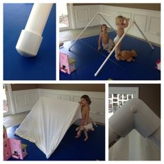 Build an indoor tent out of PVC pipe, 4 caps, 2 joints and an old bed sheet. Use a saw to easily cut down your pipe. You choose the size of the tent by how much pop you use! Old school, cheap and fun!