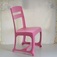 Vintage pink child's school chair metal and wood by trendybindi on Etsy, $35.00 #home decor #homeschool #shabby