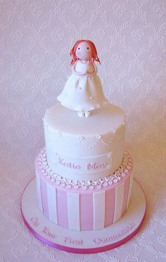 2-tier First Communion Cake for Katie May   Flickr - Photo Sharing!