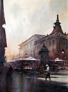 dusan-djukaric-coffee-at-the-corner-of-street-kralja-petra-watercolor-54x74-cm
