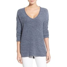Paige Denim 'Martine' Slouchy V-Neck Sweater (1.255 NOK) ❤ liked on Polyvore featuring tops, sweaters, dark ink blue, long sleeve v neck sweater, low v neck sweater, side slit sweater, lightweight v neck sweaters and blue top