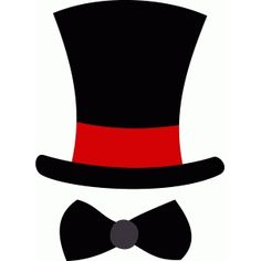 Silhouette Design Store - View Design top hat and bow tie Wedding Top Hat, Wedding Groom, Top Hat Centerpieces, Top Hats For Women, Hat Template, Steampunk Top Hat, Diy Photo Booth, Party Props, Outfits With Hats