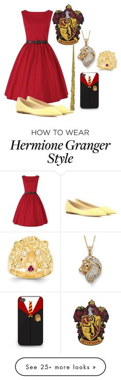 """Gryffindor prom"" by slytherinprincess1904 on Polyvore featuring Kevin Jewelers, Jimmy Choo, Palm Beach Jewelry and HermioneGranger:"