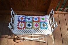 Upcycled Metal Bench Crochet Granny Square Pillow White Handmade LittlestSister on Etsy, $65.00