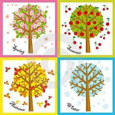 Illustration of four Seasons: spring, summer, autumn, winter , Seasons Calendar Kids, Season Calendar, New Year Calendar, Kids Calendar, Drawing For Kids, Art For Kids, Crafts For Kids, Fall Crafts, Christmas Crafts
