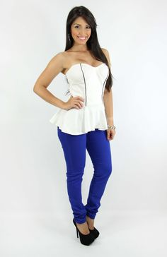 Peplum Top   Royal Blue Jean > Shop Now http://pompisstores.com/webstore/product.php?id_product=883