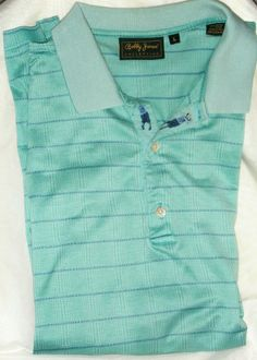 Bobby Jones golf Men's polo Shirt size Large made in Italy turquoise blue #BobbyJones #PoloShirt