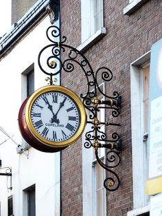 Dublin Ireland clock by Miguel Angelo wonder if this is at a jewelry store, bank? I wish US towns had descriptive signs in front of businesses like other countries do, so beautiful and fascinating to see. Tick Tock Clock, Big Clocks, Art Populaire, Father Time, Somewhere In Time, Time Stood Still, As Time Goes By, Time Clock, Grandfather Clock