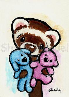 Ferret Art ACEO print Lubby Dubby Shelly by ShellyMundelArt