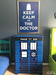 Hand painted Tardis dresser Dr. Who fans will love