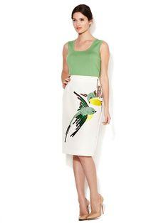 Embroidered Bird Design Silk Skirt