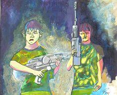"Schilderij Ping Frederiks ""Boy Games"" 40x50 cm Acryl op doek"
