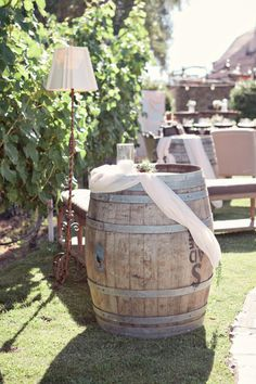 Lounge area for your reception. Wine barrels and vintage lamps. Vintage Wine, Vintage Stil, Vintage Circus, Vintage Lamps, Trendy Wedding, Rustic Wedding, Wedding Ideas, Chic Wedding, Wedding Inspiration