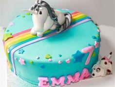 Regenboog eenhoorn taart , unicorn cake | www.cakemadness.nl