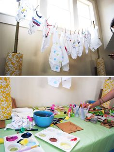 Baby shower crafts! Decorating onesies!