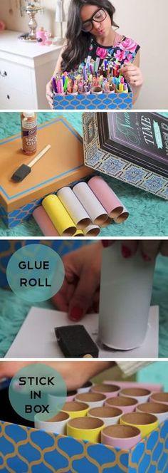 Organize school supplies using cardboard toilet paper rolls :: OrganizingMadeFun.com