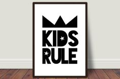 Kids Rule monochrome nursery room print, kids room print, typography print, minimalist print, nursery decor, kids room decor, quote wall art by BrandonLiz on Etsy